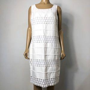 Talbots women's white linen blend shift dress